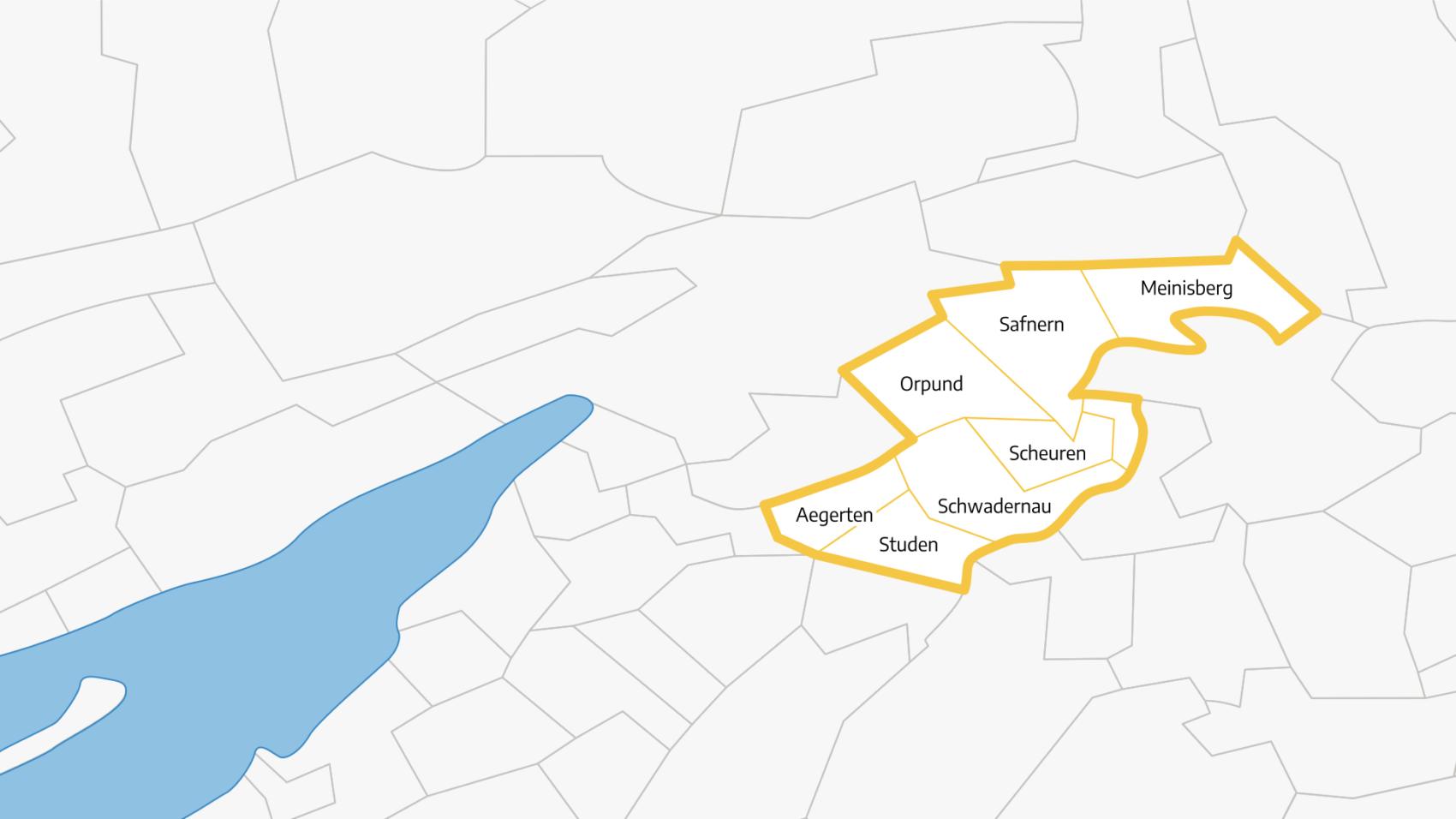 Karte des Einzugsgebiets der ARA Orpund